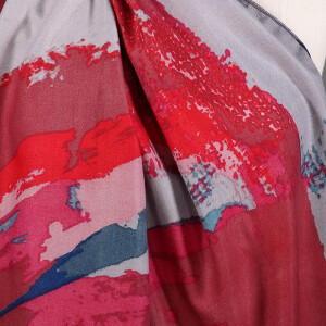 Ladies Scarf Brushed Paint Splash Dark Pink
