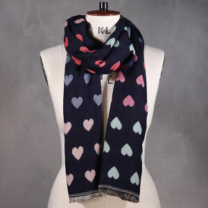 Ladies Scarf With Two Sided Jacquard Design Heart Navy
