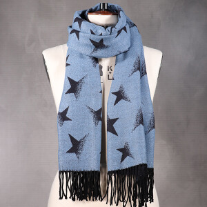 Ladies Reversible Scarf With Faded Star Navy