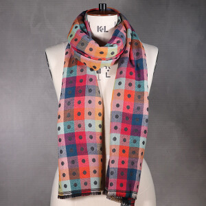 Ladies Scarf With Two Sided Jacquard Design Spot Dark Grey
