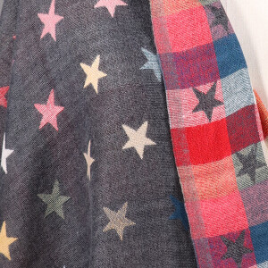 Ladies Scarf With Two Sided Jacquard Design Star Grey