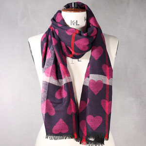 Ladies Heart Jacquard Check Scarf Pink Navy
