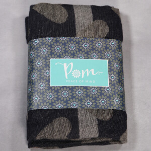 Ladies Heart Jacquard Check Scarf Navy Grey