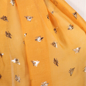 Ladies Scarf With Foil Bee Print Design Mustard