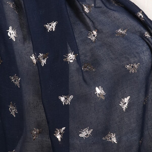 Ladies Scarf With Foil Bee Print Design Navy