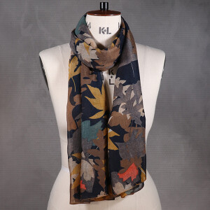 Ladies Scarf With Over Lap Leaf Print Teal