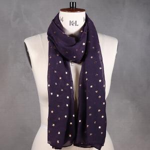 Ladies Scarf With Star Foil Print Design Purple