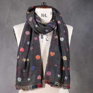 Ladies Heart Star Spot Jacquard Scarf Grey