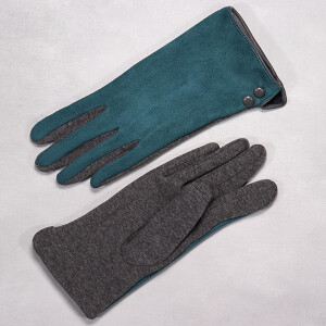 Ladies Glove In Two Tone Faux Suede Teal