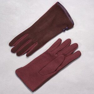 Ladies Glove In Two Tone Faux Suede Mulberry