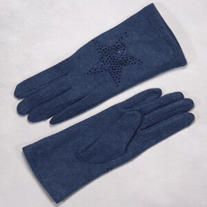 Ladies Glove With Embellished Star Denim