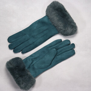 Ladies Glove With Rich Faux Fur Cuff Teal