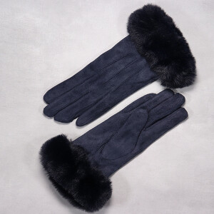 Ladies Glove With Rich Faux Fur Cuff Navy