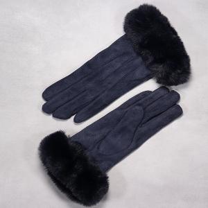 Ladies Glove With Rich Faux Fur Cuff Navy