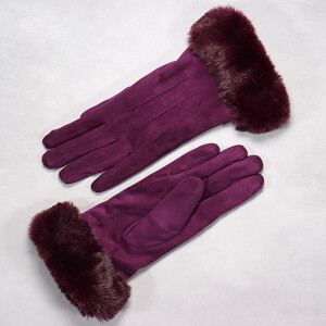 Ladies Glove With Rich Faux Fur Cuff Purple