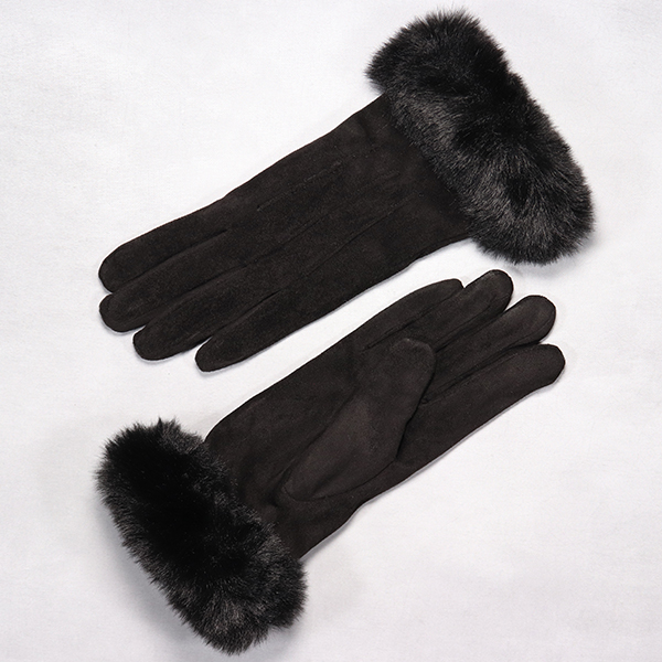 Ladies Glove With Rich Faux Fur Cuff Black