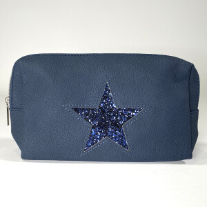 Ladies Zip Up Pouch With Star Navy