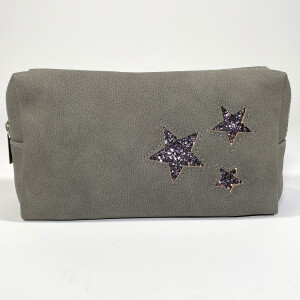 Ladies Zip Up Pouch With Star Print Grey
