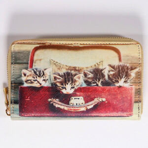 Ladies Zip Around Purse With Cute Animal Print