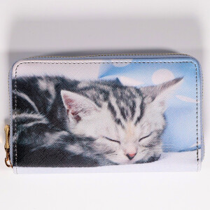 Ladies Zip Around Purse With Cute Animal Print Grey