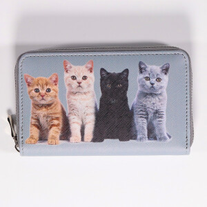 Ladies Zip Around Purse With Cute Animal Print