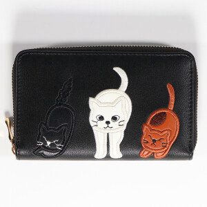Ladies Zip Around Purse With Applique Animal Detail Black