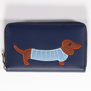 Ladies Zip Around Purse With Applique Animal Detail Navy