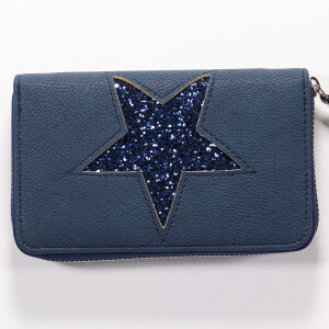 Ladies Zip Around Purse With Glitter Star Navy
