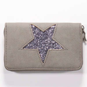 Ladies Zip Around Purse With Glitter Star Grey