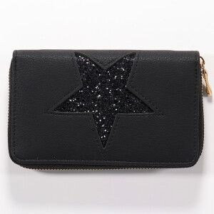 Ladies Zip Around Purse With Glitter Star Black