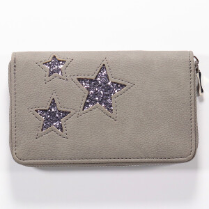 Ladies Zip Around Purse With Triple Glitter Star Detail Grey