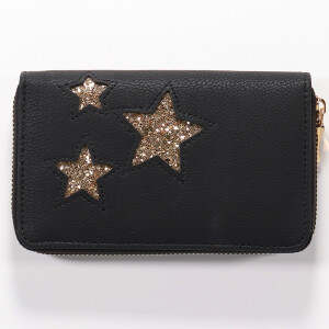 Ladies Zip Around Purse With Triple Glitter Star Detail Black