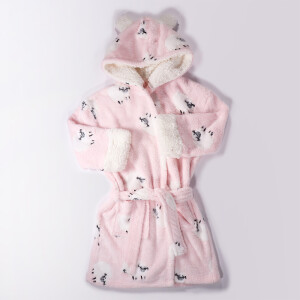 Childrens Sheep Print Robe Pink