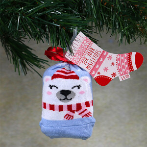 Ladies Single Novelty Christmas Socks In A Bag Polar Bear