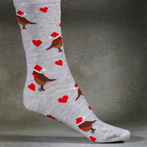 Ladies Single Novelty Christmas Socks In A Bag Robin