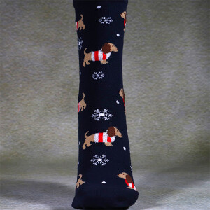 Ladies Single Novelty Christmas Socks In A Bag Dachshund