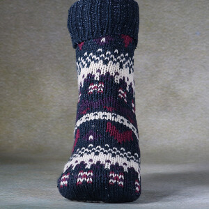 Ladies Fairisle Slipper Socks Denim