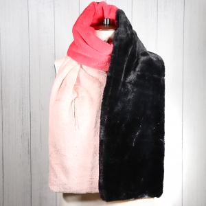 Faux Fur Wrap Scarf Black Maroon Pink