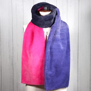 Faux Fur Wrap Scarf Pink Navy Blue