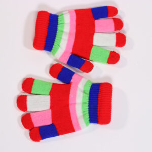 Childrens Gloves Multi Striped Red