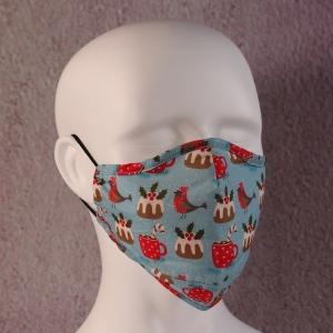Face Mask Filter Xmas Pudding Robin