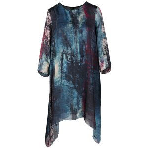 Printed Dress Asymmetric Hem Cream