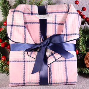 Ladies Tartan Winceyette Pyjama Set Pink