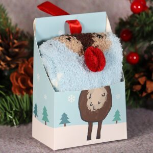 Fluffy Christmas Socks In A Box Reindeer