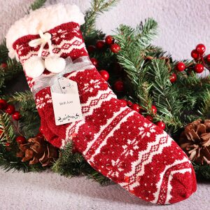 Ladies Cosy Lined Slipper Socks Red White