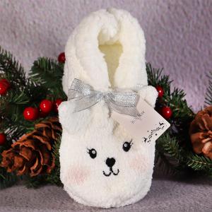Ladies Character Slipper Socks Bunny Cream