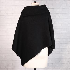 Boiled Wool Poncho Black