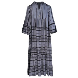 Dress Woven Stripe Tiered Maxi Navy