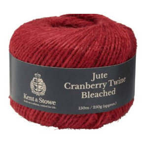 Jute Twine Bleached Cranberry 250g