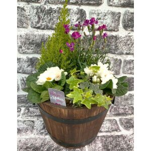 Wooden Barrel Planted Container 26cm